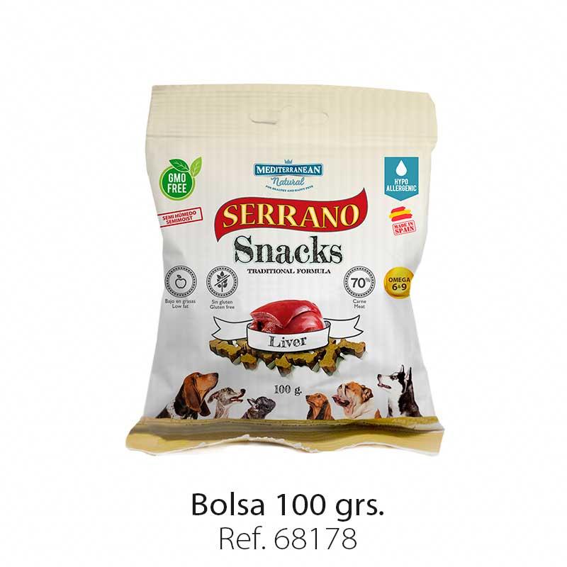 Serrano Snacks para perros, bolsa de hígado, Mediterranean Natural
