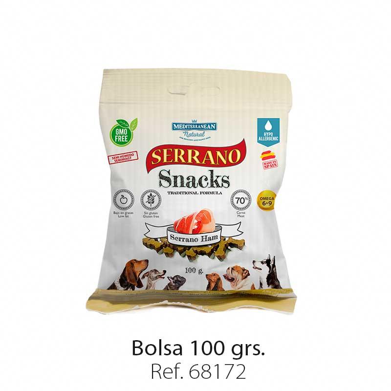 Serrano Snacks para perros, bolsa de jamón serrano, Mediterranean Natural