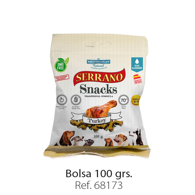 Serrano Snacks para perros, bolsa de pavo, Mediterranean Natural