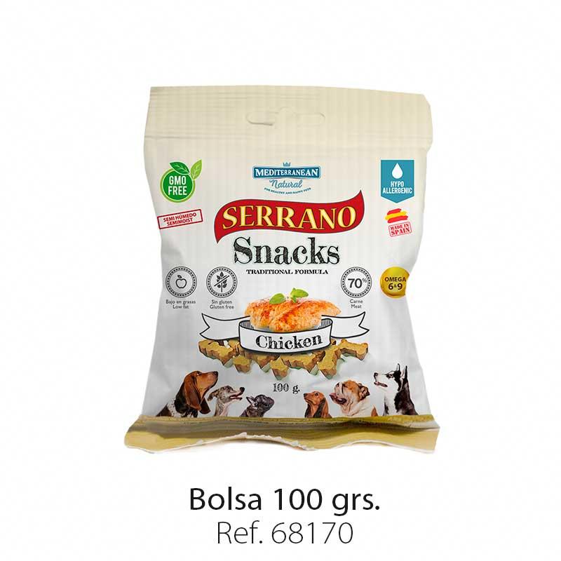Serrano Snacks para perros, bolsa de pollo, Mediterranean Natural