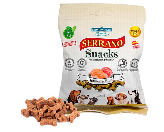 Serrano Snacks para perros, bolsa de salmón y atún, Mediterranean Natural