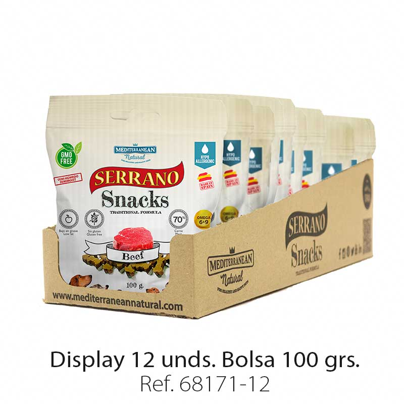 Serrano Snacks para perros, display 12, de buey, Mediterranean Natural