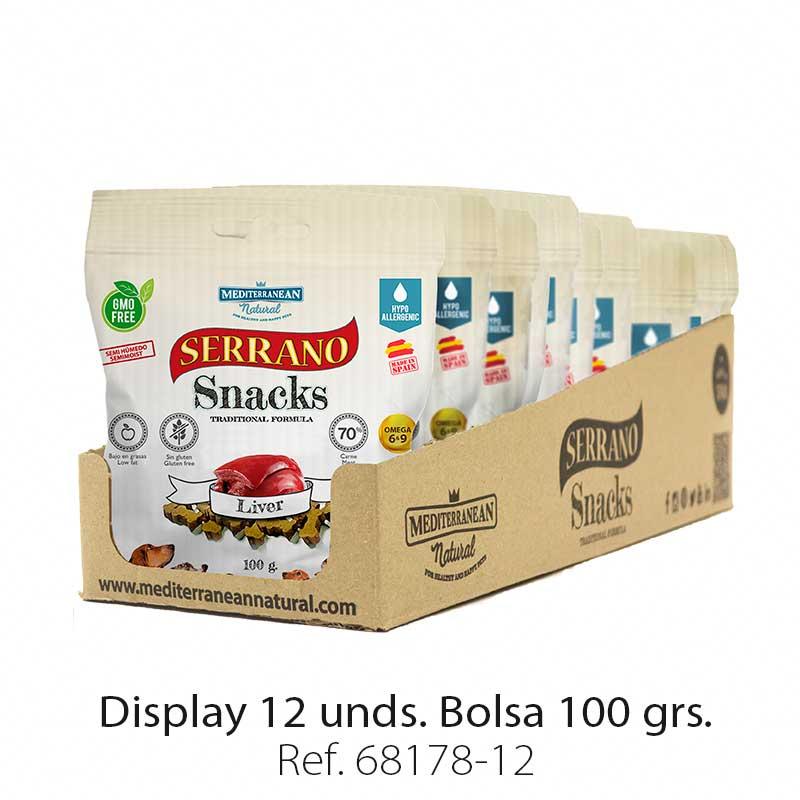 Serrano Snacks para perros, display 12, de hígado, Mediterranean Natural