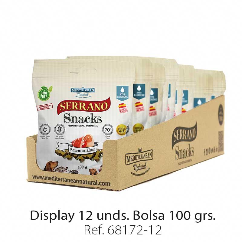 Serrano Snacks para perros, display 12, de jamón serrano, Mediterranean Natural