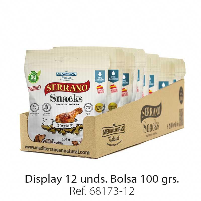 Serrano Snacks para perros, display 12, de pavo, Mediterranean Natural