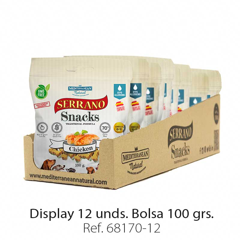 Serrano Snacks para perros, display 12, de pollo, Mediterranean Natural