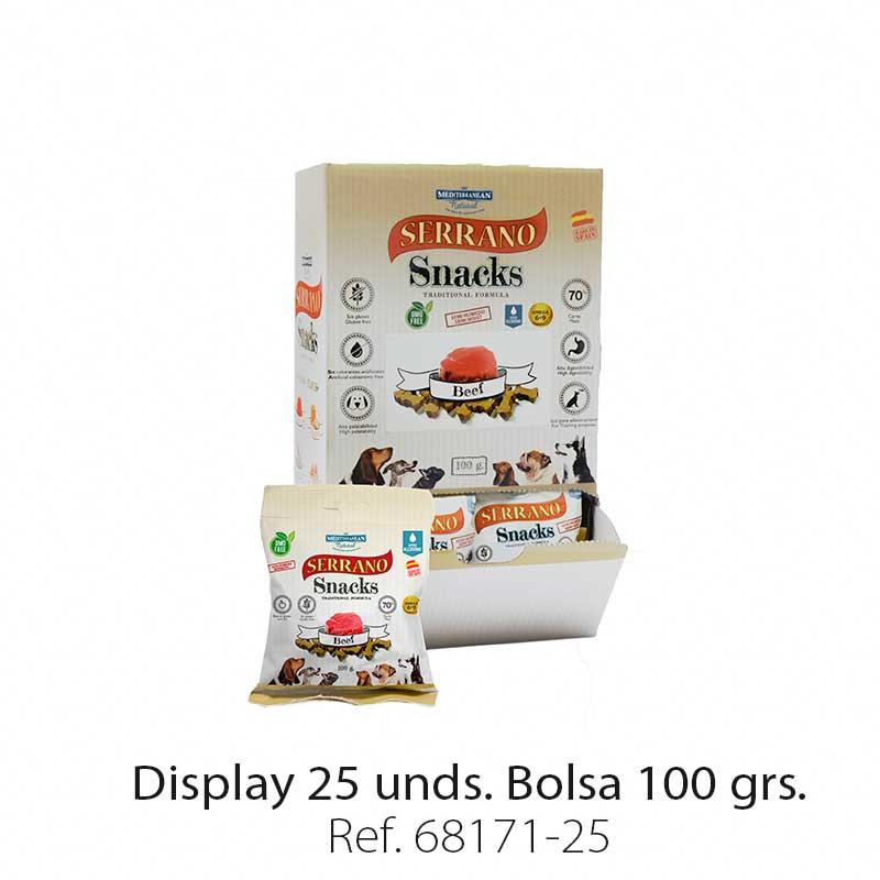 Serrano Snacks para perros, display 25, de buey, Mediterranean Natural
