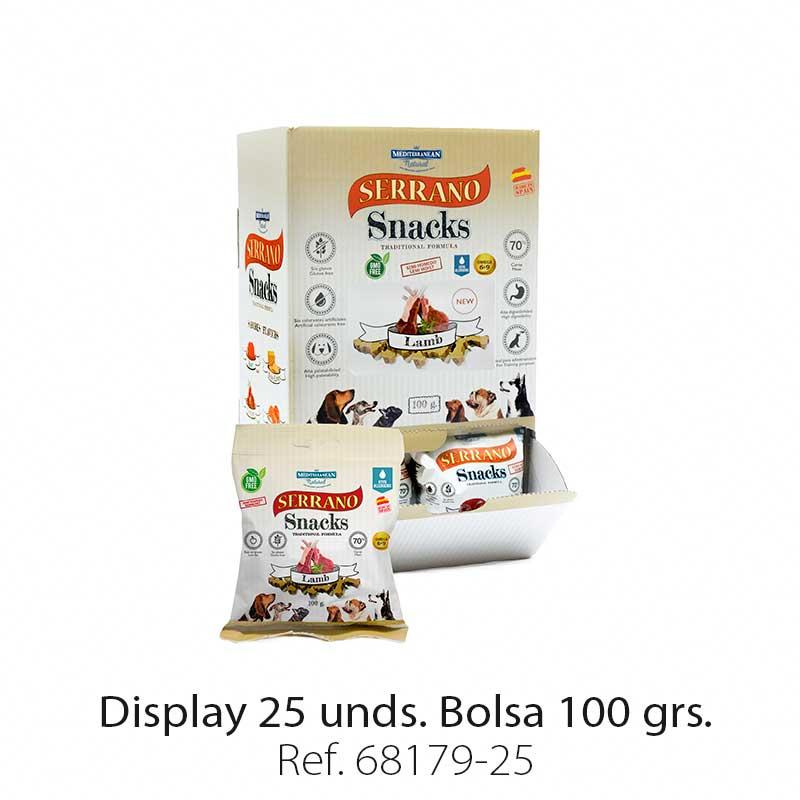 Serrano Snacks para perros, display 25, de cordero, Mediterranean Natural