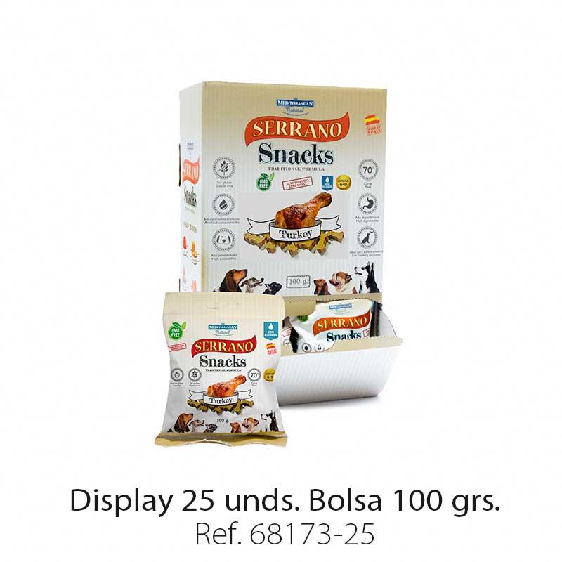 Serrano Snacks para perros, display 25, de pavo, Mediterranean Natural