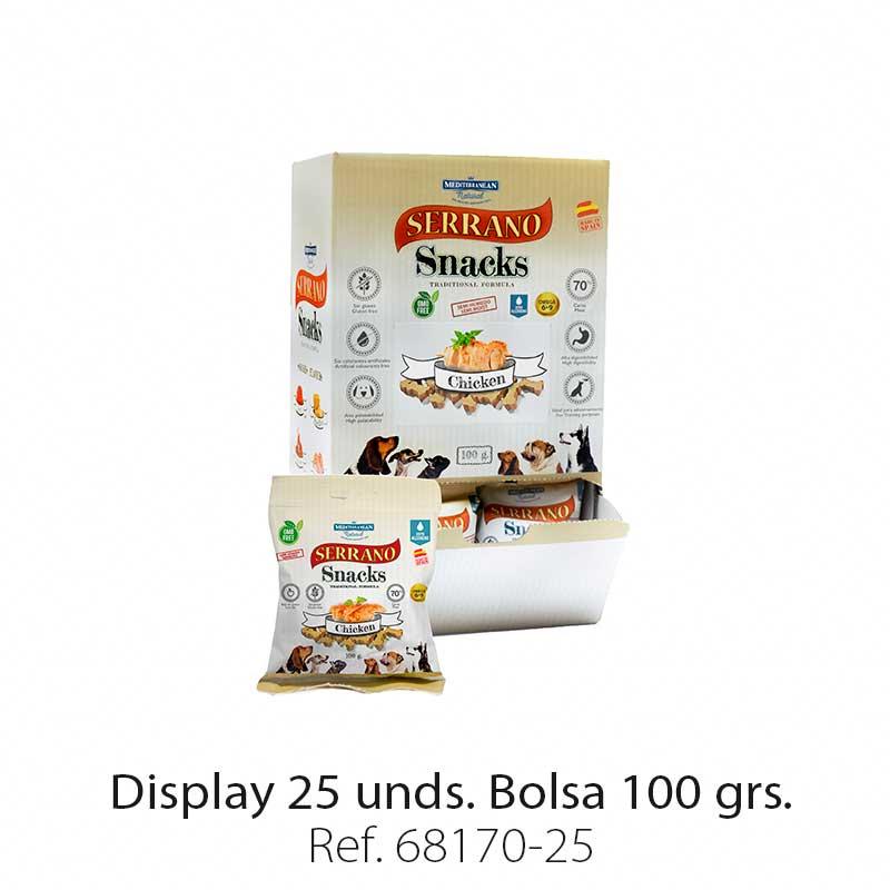 Serrano Snacks para perros, display 25, de pollo, Mediterranean Natural