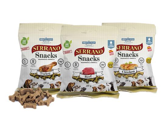 Serrano Snacks para perros. Premios de Mediterranean Natural