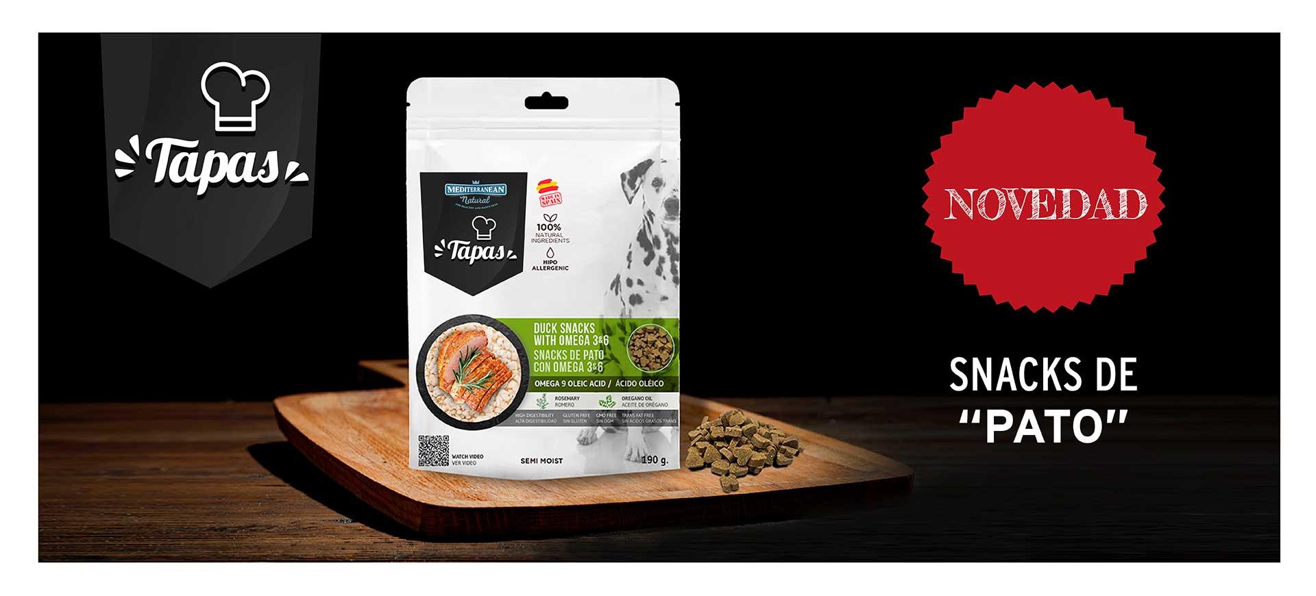 Tapas para perros snack semi húmedo pato Mediterranean Natural
