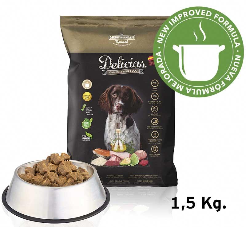 New Delicias 1,5 kg dog food improved formula. Mediterranean Natural