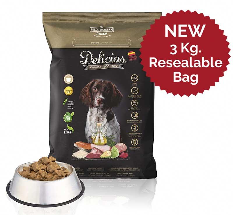 New Delicias 3 kg resealable bag Mediterranean Natural dog food