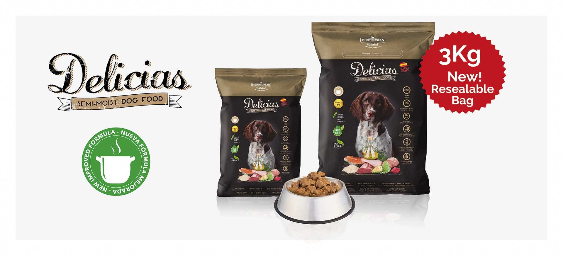 New Delicias for adults dogs Mediterranean Natural banner