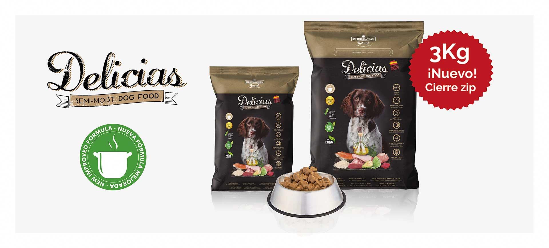 Nuevas Delicias Mediterranean Natural para perros adultos banner