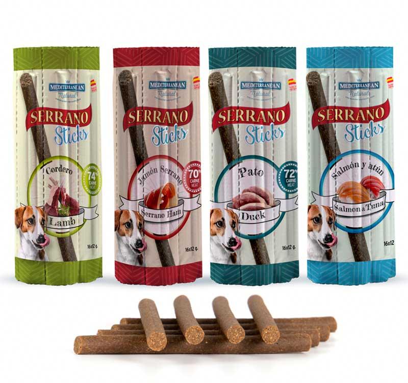 Barritas individuales sabores Serrano Sticks para perros de carne y pescado