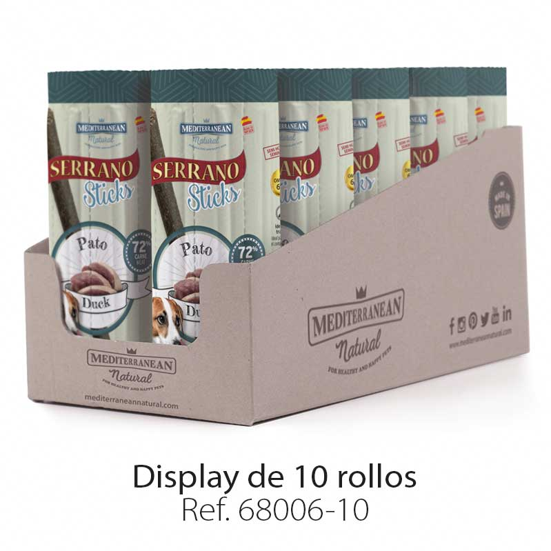 Display Serrano Sticks barritas para perros carne pato