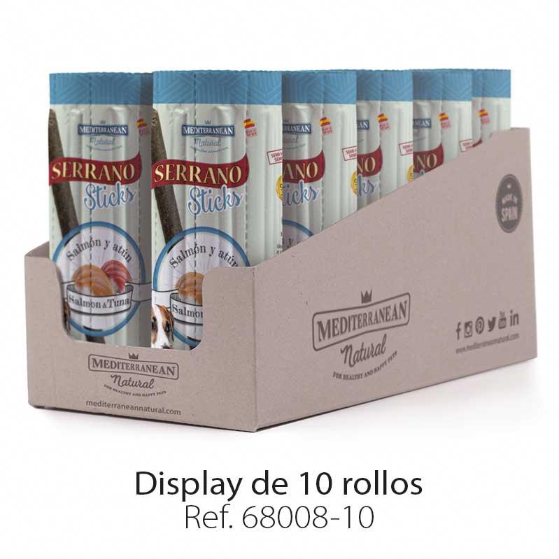 Display Serrano Sticks barritas para perros pescado salmón y atún