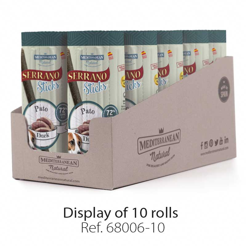Display Serrano Sticks for dogs meat duck