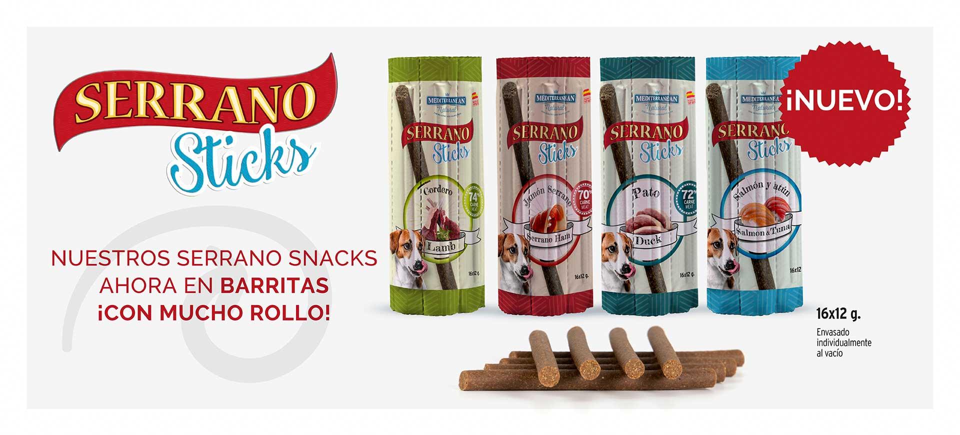 Serrano Sticks de Mediterranean Natural para perros sabores