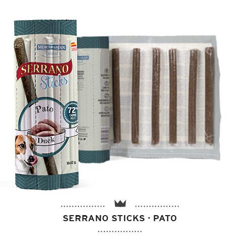 Serrano Sticks snacks para perros individuales de carne de pato